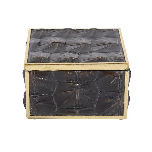Metal Faux Tortoise Shell Box - Small For Sale - Image 7 of 7