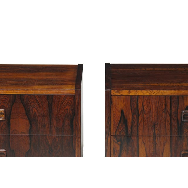 Red Danish Rosewood Nightstand Bedside Tables With Drawers - a Pair For Sale - Image 8 of 9