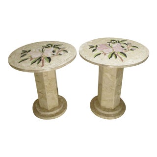 Italian Pietra Dura Inlaid Marble Tables - a Pair For Sale