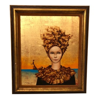 """French Vintage """"Les Glaneuses D'Aurore"""" Painting on Canvas, Signed Clement For Sale"""