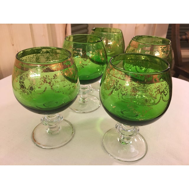 Mid-Century Modern Mid-Century Modern Emerald Green Goblets - Set of 5 For Sale - Image 3 of 10