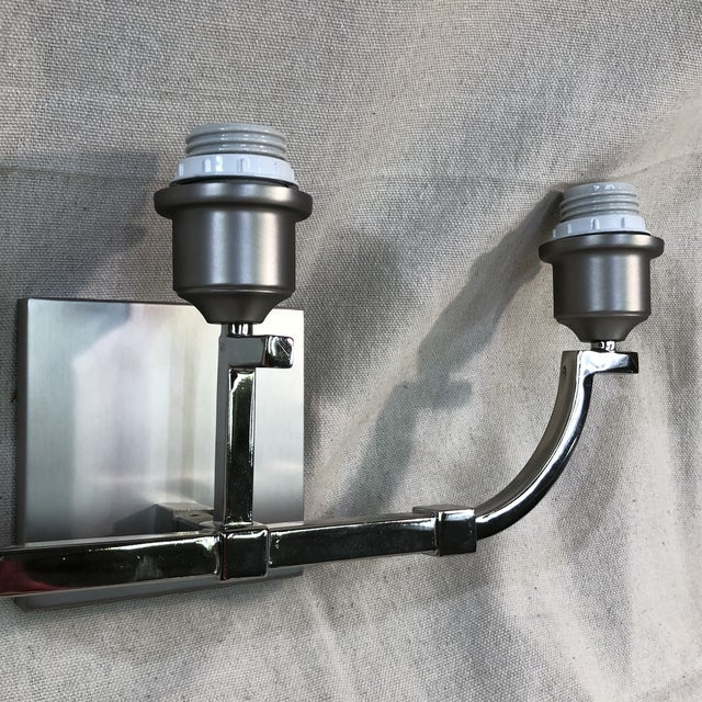 2010s Feiss Preakness 3-Light Satin Nickel / Polished Nickel Vanity Wall Light For Sale - Image 5 of 11