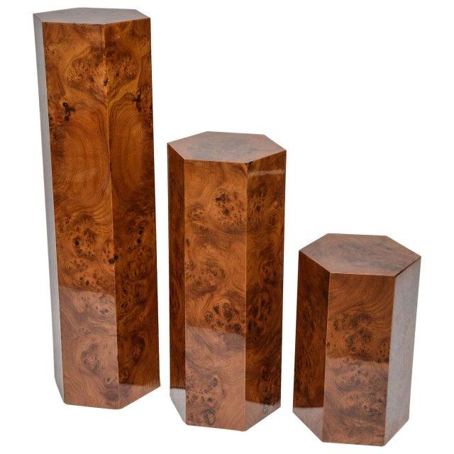 Hexagonal Burl Wood Pedestals - Set of 3 For Sale