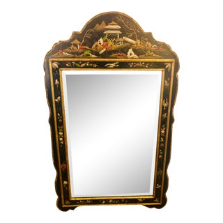 Chinoiserie Friedman Brothers Handpainted Asian Black Mirror With Gilt Accents For Sale