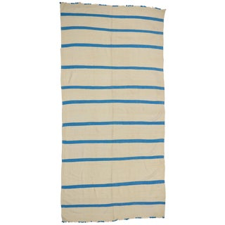 Aqua Blue and Cream Vintage Berber Moroccan Kilim Rug with Stripes For Sale