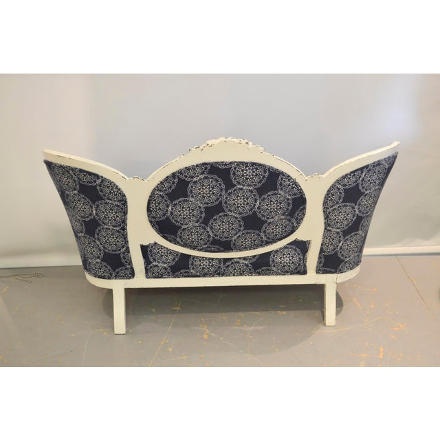 Shabby Chic Vintage Settee with John Robshaw Upholstery For Sale - Image 3 of 4