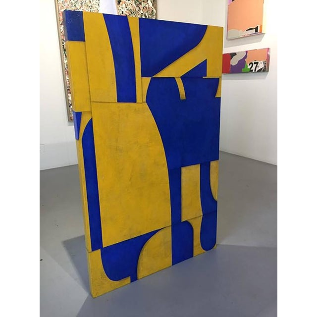 """2010s Cecil Touchon """"pdp #653"""" Abstract Blue & Yellow Painting on Panel For Sale - Image 5 of 6"""