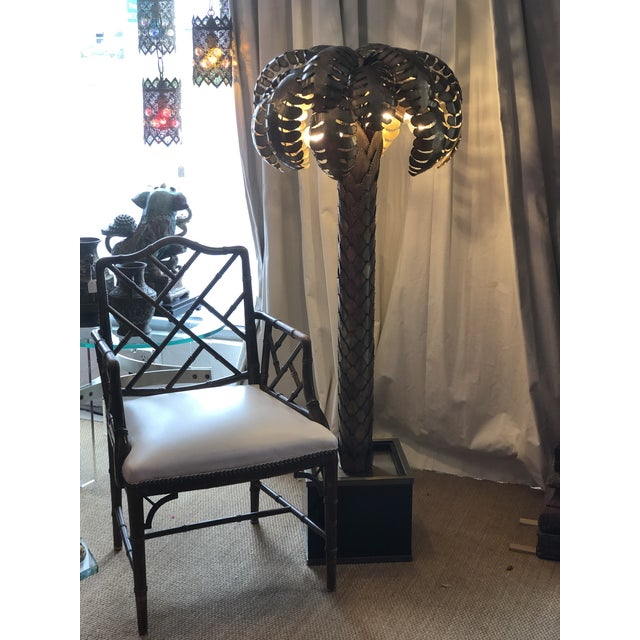 Eichholtz Handcrafted Vintage Brass Finish Palm Tree Floor Lamp For Sale - Image 11 of 12