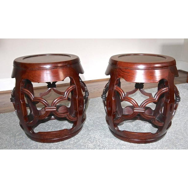 1950s Chinese Asian Hardwood Garden Seat Stools - a Pair For Sale - Image 4 of 10