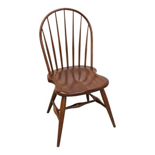 Traditional Duckloe Bros Cherry Hoop-Back Windsor Side Dining Chair For Sale