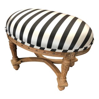 1950s Vintage French Oval Criss Cross Stretcher Newly Upholstered Footstool For Sale