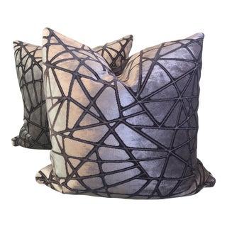 """Holly Hunt """"Tangled"""" Silk Velvet 22"""" Pillows - A Pair"""