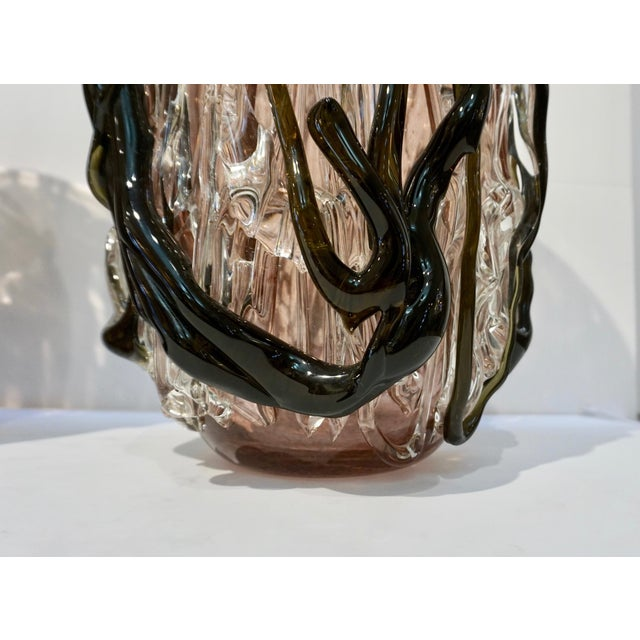 2000 - 2009 Costantini Italian Black Amethyst Clear Murano Glass Vases - a Pair For Sale - Image 5 of 13