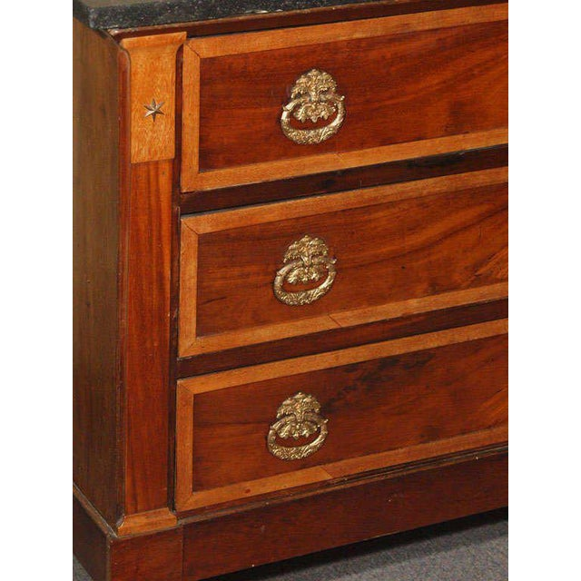 Traditional Antique French Directoire mahogany marble top commode. For Sale - Image 3 of 9