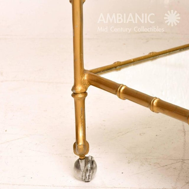 Metal Mexican Modernist Faux Bamboo Service Cart, Attributed Arturo Pani For Sale - Image 7 of 8