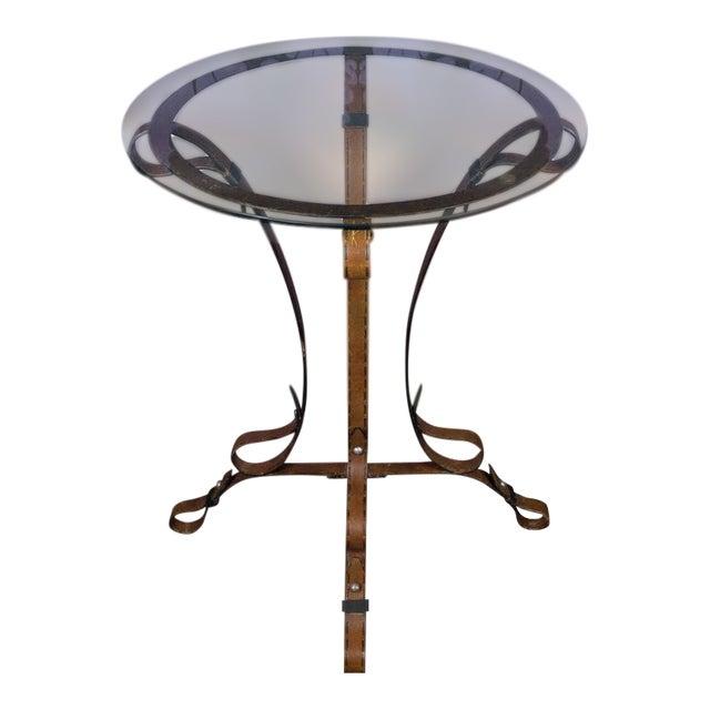 """Unique French """"Leather"""" Wrought Iron Table With Glass Top - Image 1 of 11"""