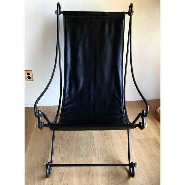 Black 20th Century Maison Jansen Neoclassical Iron Brass Sling Lounge Chair Savonarola Janus Et Cie Style For Sale - Image 8 of 12