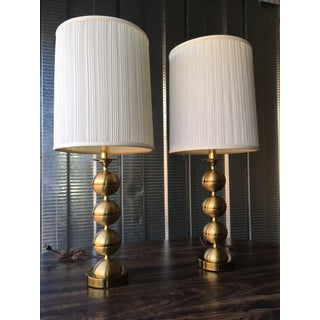 George Kovacs Style Brass Stacked Ball Table Lamp & Shade - a Pair Preview
