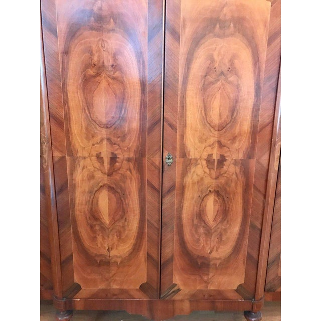 Antique French Art Deco Crotch Mahogany Freres Credenza Sideboard Cabinet For Sale - Image 4 of 9