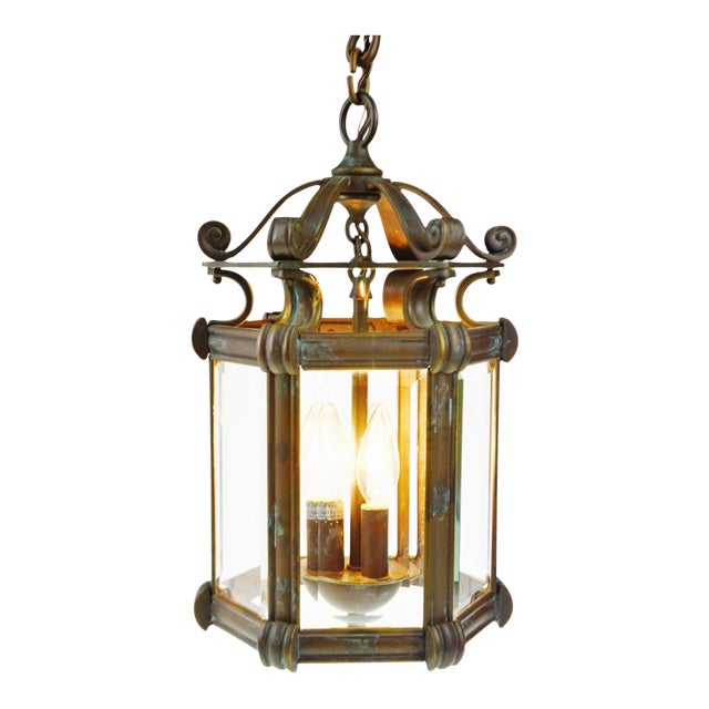 Bronze & Beveled Glass 3 Light Lantern Light Fixture - Image 1 of 11