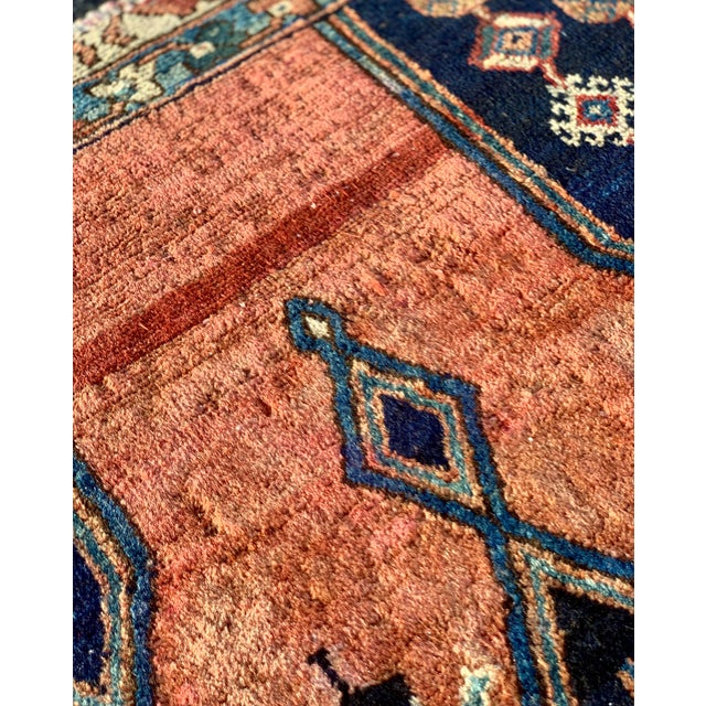 Orange 1930s Vintage Persian Mazlaghan Rug - 4′5″ × 5′10″ For Sale - Image 8 of 12