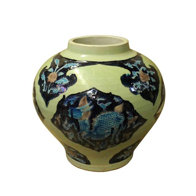 Blue Handmade Ceramic Blue Light Green Celadon Dimensional Pattern Vase Jar For Sale - Image 8 of 10