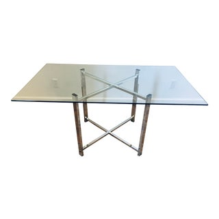 """1970s Folding X-Frame Glass + Chrome 60"""" Dining Table For Sale"""