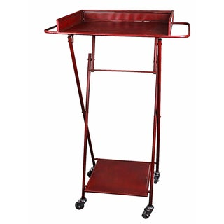 Tall Red Metal Foldable Bar Cart