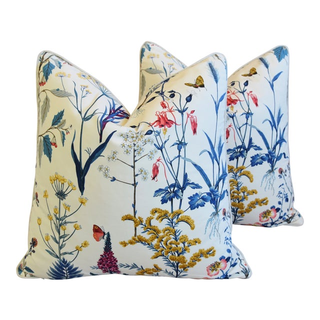"Floral Wildflower Botanical Cotton & Linen Feather/Down Pillows 24"" Square - Pair For Sale"