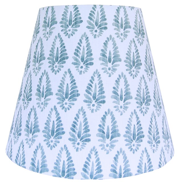 Boho Chic Pair of Blue Block Print Design Lamp Shade For Sale - Image 3 of 4