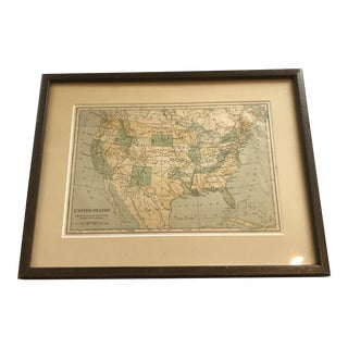 Early 20th Century Framed United States Map For Sale