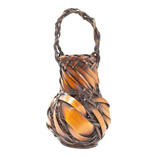 Ikebana Basket With Bamboo Rope Handle and Wide Plaits For Sale