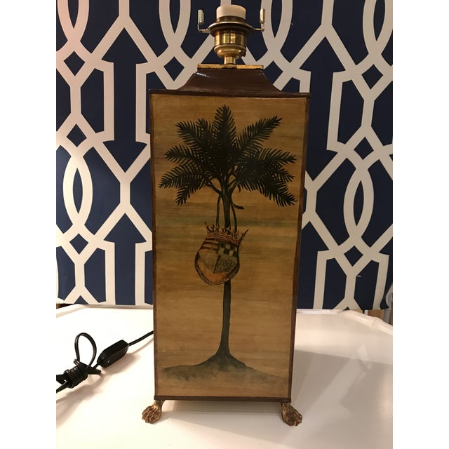 Tan Vintage Palm Tree With Coat of Arms Table Lamp For Sale - Image 8 of 8