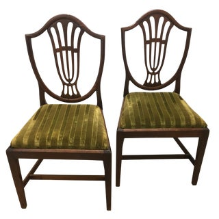 Mid 19th Century Antique Hepplewhite Shield Back Chairs - a Pair For Sale