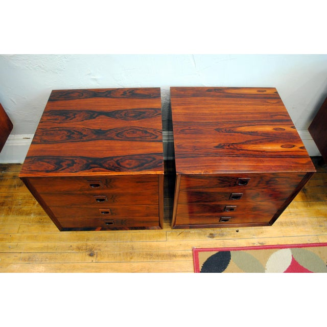 Danish Brazilian Rosewood 4 Drawer Nightstands- A Pair For Sale - Image 5 of 10