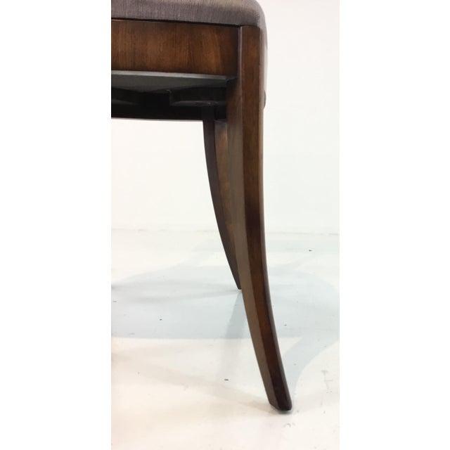 Stylish Modern Klismos Emerson Roswood Side Chair, lilac gray satin upholstery, showroom floor sample, original retail $1377