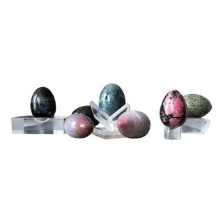 Burnished Stone & Lucite Springtime Eggs - Set of 7