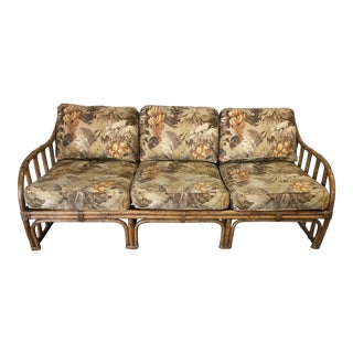 1990s Hollywood Regency Ficks Reed Bamboo Sofa For Sale
