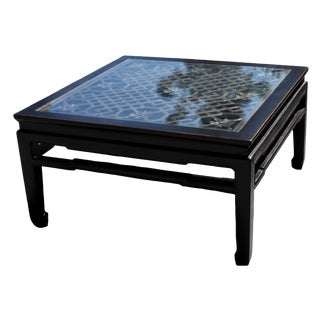 20th Century Asian Coffee Table With Antique Screen For Sale