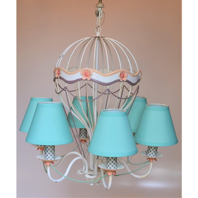 1960s Vintage Italian Tole Hot Air Balloon Chandelier For Sale - Image 4 of 12