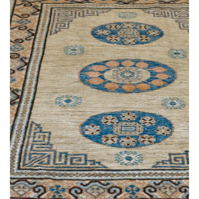 MANSOUR Mid-19th Century Handwoven Wool Khotan Rug For Sale - Image 4 of 5