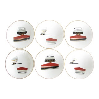 Vintage Noritake Toki Kaisha Japanese Porcelain Rice Bowls With Hand-Painted Design - Set of 6 For Sale