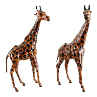 Pair of Painted Leather Giraffe Sculptures For Sale