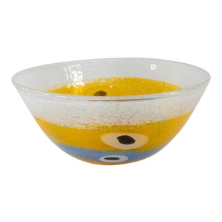 1970s Mid-Century Modern Colorful Art Glass Centerpiece Bowl For Sale