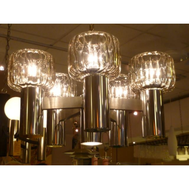 Five Globe Nickel Lightolier Mid Century Chandelier For Sale In Miami - Image 6 of 9