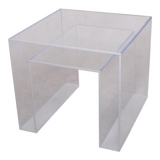 Alexandra Von Furstenberg Clear and White Brilliant Side Table For Sale