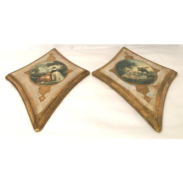 Vintage Italian Florentine Wall Hangings - A Pair For Sale - Image 4 of 9