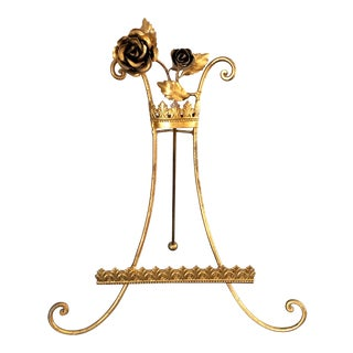 Vintage Florentine Gilt Tole Floral Display Easel For Sale