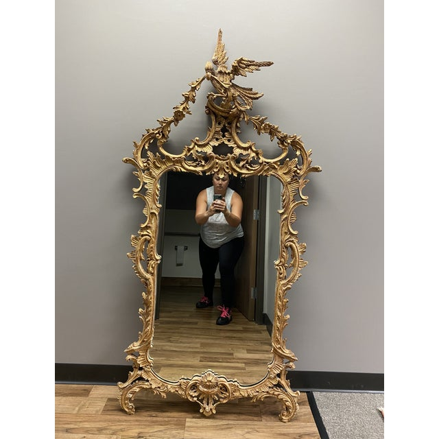 Glass 1960s Italian Style La Barge Gold Leaf Mirror For Sale - Image 7 of 8