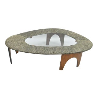 Henry P Glass Intimate Island Suite Mid Century Walnut Upholstered Coffee Table For Sale
